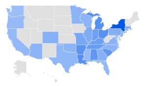 Sample regional breakdown of keyword interest (Google Trends)